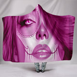 Calavera Fresh Look Design #3 Hooded Blanket (Pink Mystic Topaz) - FREE SHIPPING