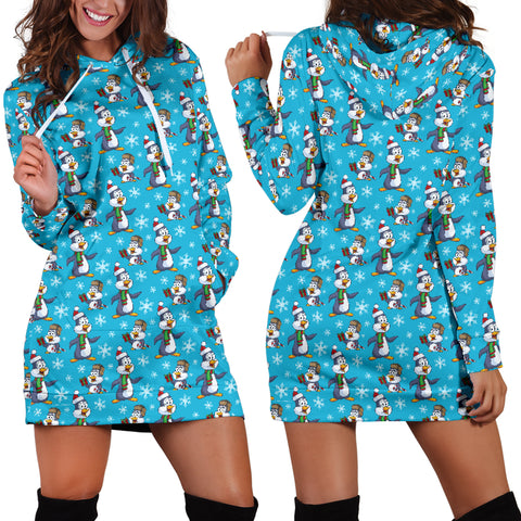Ugly Christmas Sweater Hoodie Dress - Penguins Design #1 (Blue) - For Small To Plus Size Divas - FREE SHIPPING