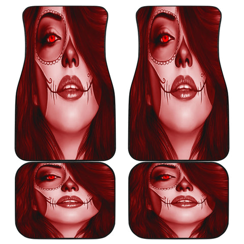 Calavera Fresh Look Design #3 Car Floor Mats (Red Garnet, Front & Back) - FREE SHIPPING