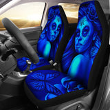 Calavera Fresh Look Design #2 Car Seat Covers (Blue Elusive Rose)  - FREE SHIPPING