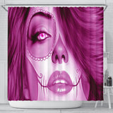 Calavera Fresh Look Design #3 Shower Curtain (Pink Mystic Topaz) - FREE SHIPPING
