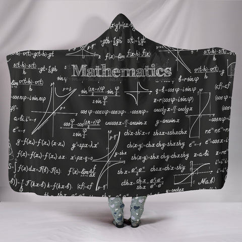Mathematica Hooded Blanket Design #1 Black Chalkboard - FREE SHIPPING