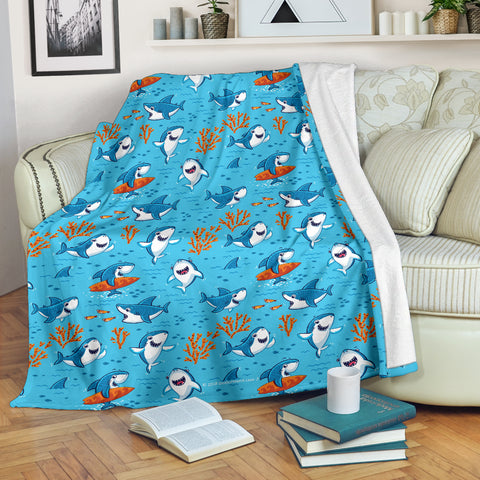 Shark Pattern #2 Throw Blanket - FREE SHIPPING