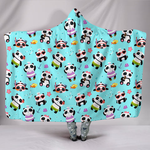 Cute Pandas Design #1 Hooded Blanket (Blue) - FREE SHIPPING