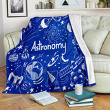 Astronomy Chalkboard Throw Blanket (Midnight Blue) - FREE SHIPPING
