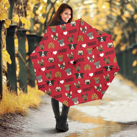 I Love Dogs Umbrella (Red) - FREE SHIPPING