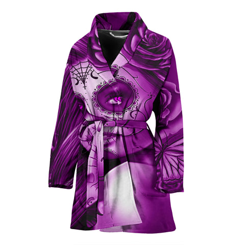 Calavera Fresh Look Design #2 Women's Bathrobe (Purple Night Owl Rose) - FREE SHIPPING