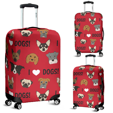 I Love Dogs Luggage Cover - FREE SHIPPING