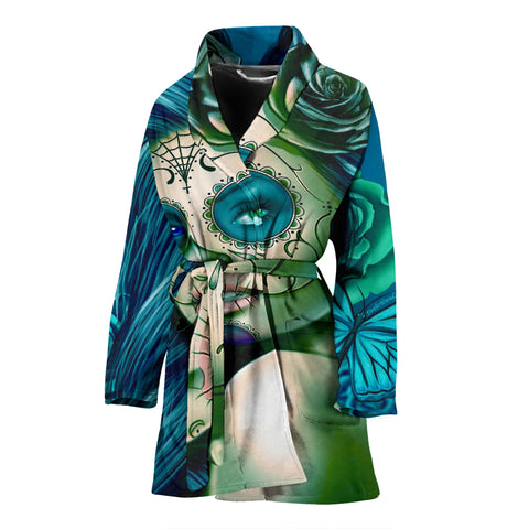 Calavera Fresh Look Design #2 Women's Bathrobe (Turquoise Tiffany Rose) - FREE SHIPPING