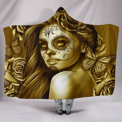 Calavera Fresh Look Design #2 Hooded Blanket (Hazel Sparkle & Shine Rose) - FREE SHIPPING