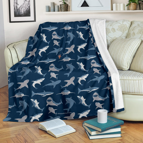 Shark Pattern #1 Throw Blanket - FREE SHIPPING