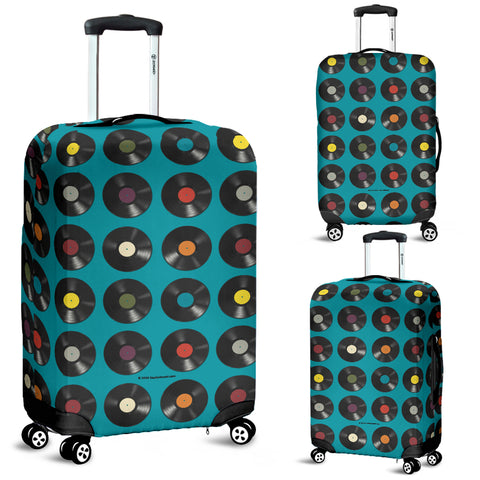 Vinyl Records Design #1 (Blue) Luggage Cover - FREE SHIPPING