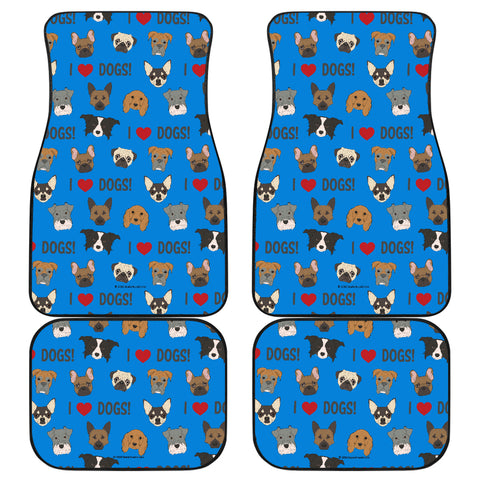 I Love Dogs Car Floor Mats (FPD Blue) - FREE SHIPPING
