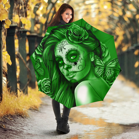 Calavera Fresh Look Design #2 Umbrella (Green Lime Rose) - FREE SHIPPING