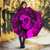 Calavera Fresh Look Design #2 Umbrella (Pink Easy On The Eyes Rose) - FREE SHIPPING