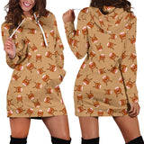Ugly Christmas Sweater Hoodie Dress - Reindeer Design #1 (Brown) - For Small To Plus Size Divas - FREE SHIPPING