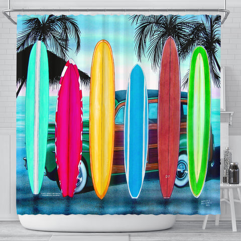 Patrick Sullivan Signature Line - Surfboards - Shower Curtain - FREE SHIPPING