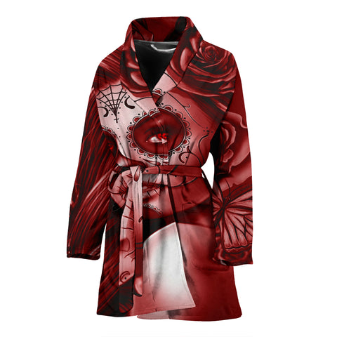 Calavera Fresh Look Design #2 Women's Bathrobe (Red Freedom Rose) - FREE SHIPPING