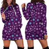 Ugly Christmas Sweater Hoodie Dress - Snowflakes Design #1 (Purple) - For Small To Plus Size Divas - FREE SHIPPING