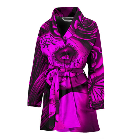 Calavera Fresh Look Design #2 Women's Bathrobe (Pink Easy On The Eyes Rose) - FREE SHIPPING