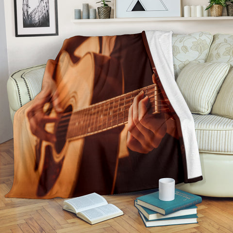 Guitar Player Design #1 Throw Blanket - FREE SHIPPING