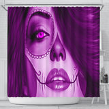 Calavera Fresh Look Design #3 Shower Curtain (Purple Amethyst) - FREE SHIPPING