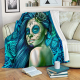 Calavera Fresh Look Design #2 Throw Blanket (Turquoise Tiffany Rose) - FREE SHIPPING