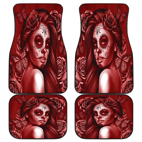 Calavera Fresh Look Design #2 Car Floor Mats (Red Freedom Rose, Front & Back) - FREE SHIPPING