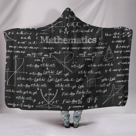 Mathematica Hooded Blanket Design #2 Black Chalkboard - FREE SHIPPING