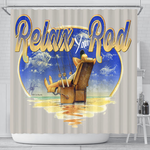Jim Mazzotta Signature Line - Relax Your Rod - Shower Curtain - FREE SHIPPING