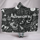 Astronomy Chalkboard Hooded Blanket Black - FREE SHIPPING