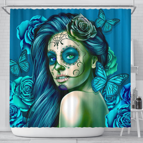 Calavera Fresh Look Design #2 Shower Curtain (Turquoise Tiffany Rose) - FREE SHIPPING