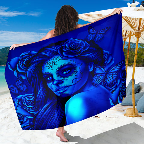 Calavera Fresh Look Design #2 Sarong (Blue Elusive Rose) - FREE SHIPPING