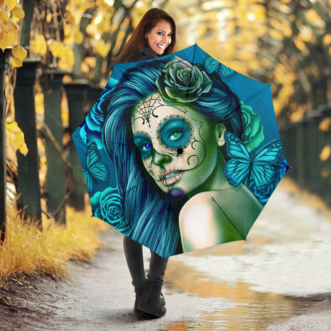 Calavera Fresh Look Design #2 Umbrella (Turquoise Tiffany Rose) - FREE SHIPPING