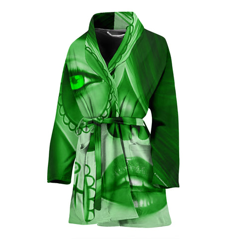 Calavera Fresh Look Design #3 Women's Bathrobe (Green Emerald) - FREE SHIPPING