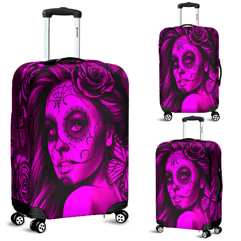 Calavera Fresh Look Design #2 Luggage Cover (Pink Easy On The Eyes Rose) - FREE SHIPPING