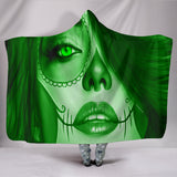 Calavera Fresh Look Design #3 Hooded Blanket (Green Emerald) - FREE SHIPPING