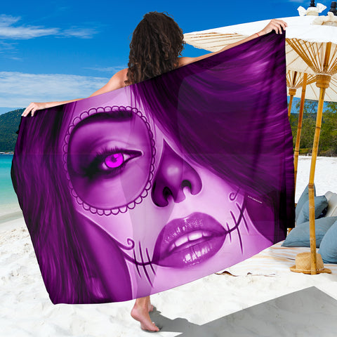 Calavera Fresh Look Design #3 Sarong (Purple Amethyst) - FREE SHIPPING