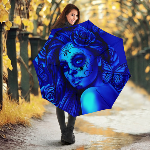Calavera Fresh Look Design #2 Umbrella (Blue Elusive Rose) - FREE SHIPPING