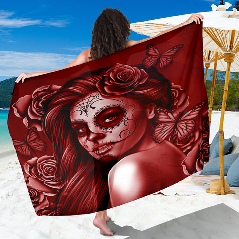 Calavera Fresh Look Design #2 Sarong (Red Freedom Rose) - FREE SHIPPING