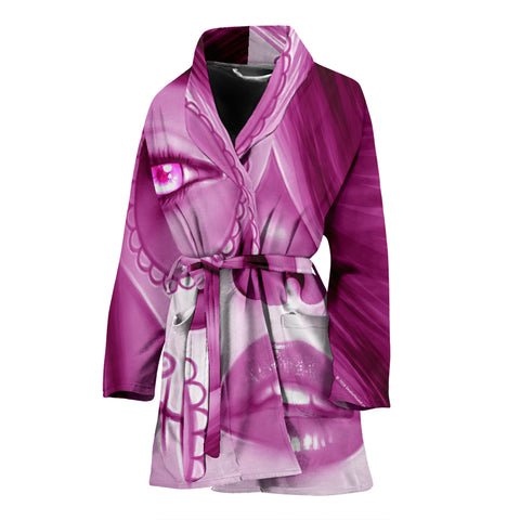 Calavera Fresh Look Design #3 Women's Bathrobe (Pink Mystic Topaz) - FREE SHIPPING
