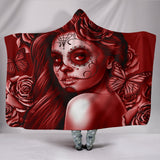Calavera Fresh Look Design #2 Hooded Blanket (Red Freedom Rose) - FREE SHIPPING