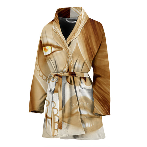 Calavera Fresh Look Design #3 Women's Bathrobe (Honey Tiger's Eye) - FREE SHIPPING