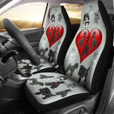 I Love Schnauzers Car Seat Covers (Silver Martin, With Heart)  - FREE SHIPPING
