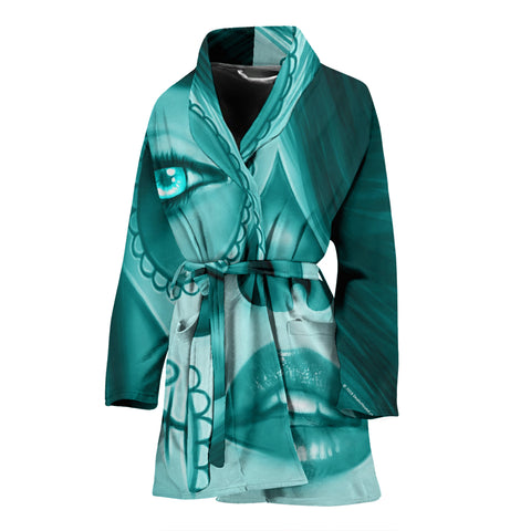 Calavera Fresh Look Design #3 Women's Bathrobe (Ice Blue Aquamarine)