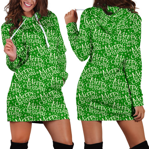 Ugly Christmas Sweater Hoodie Dress - Merry Christmas Design #1 (Green) - For Small To Plus Size Divas - FREE SHIPPING