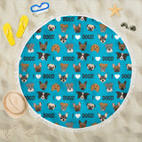 I Love Dogs Beach Blanket (Richmond SPCA Blue) - FREE SHIPPING