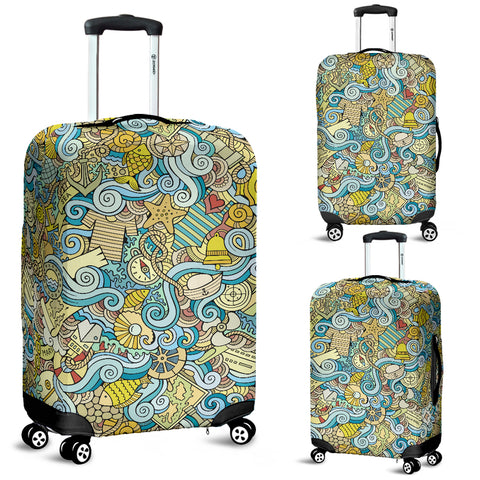 Nautical Design Luggage Cover (Yellow) - FREE SHIPPING