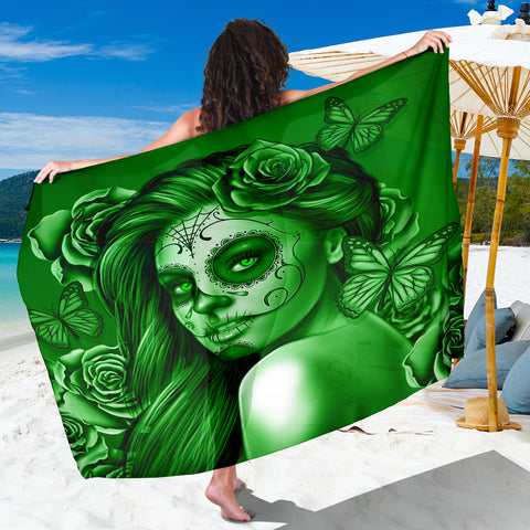 Calavera Fresh Look Design #2 Sarong (Green Lime Rose) - FREE SHIPPING