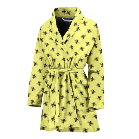 Honey Bees Design #1 Women's Bathrobe (Yellow) - FREE SHIPPING